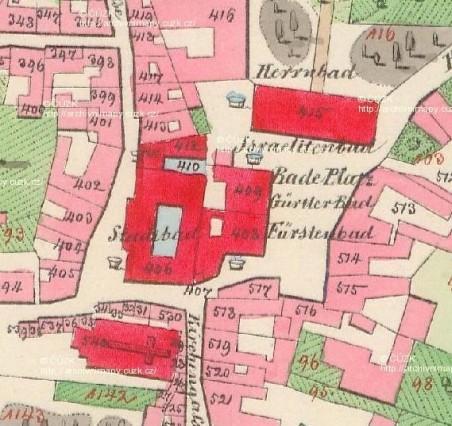 Lázeňské náměstí (Bade Platz) na stabilním katastru kolem roku 1840